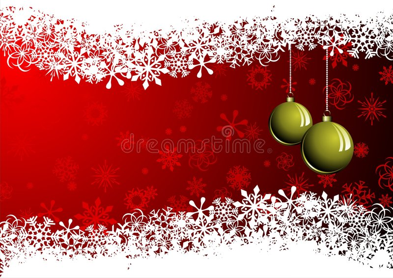 Postcard - Merry Christmas2. Postcard with christmas ball and red background stock illustration