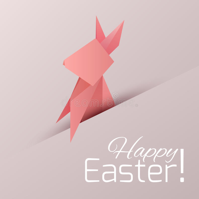 Postcard With Origami Paper Rabbit With Congratulation Stock Vector