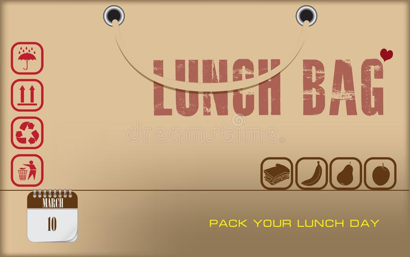 Postcard Pack Your Lunch Day royalty free illustration