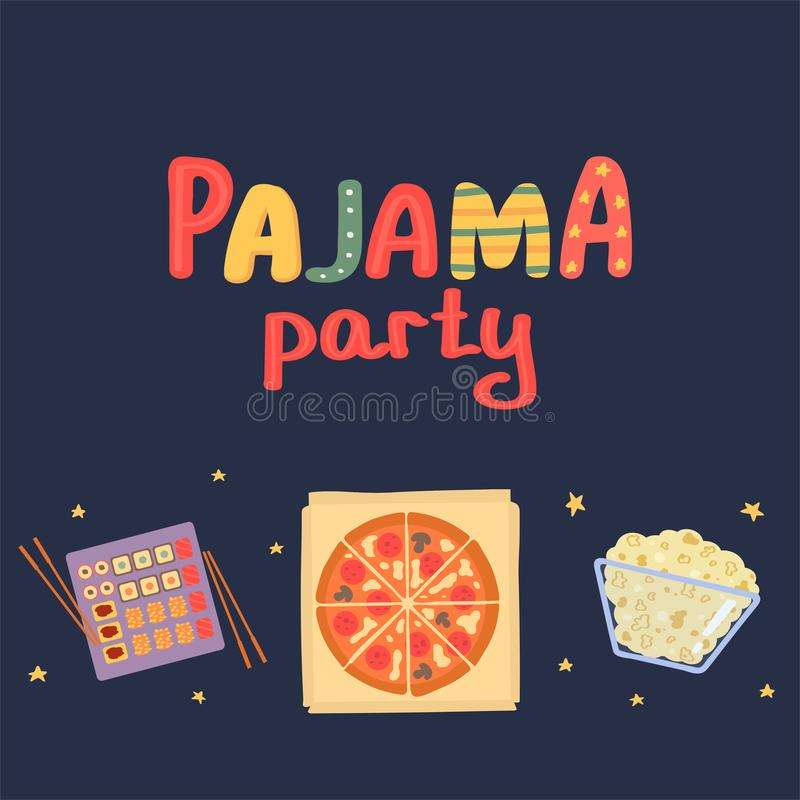 Postcard pajama party. Sushi, pizza, popcorn on a dark background. Vector illustration in freehand drawing style.  vector illustration