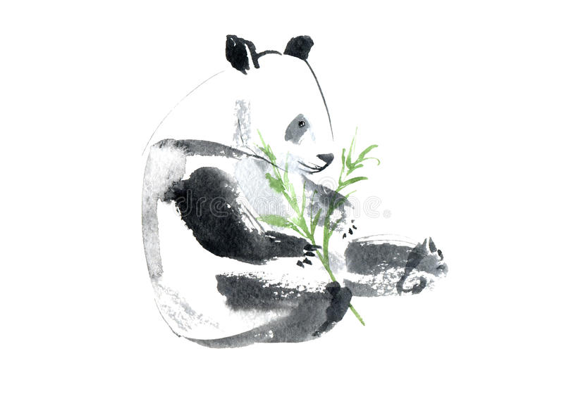 Postcard with panda and bamboo.Greeting card with animals. royalty free illustration