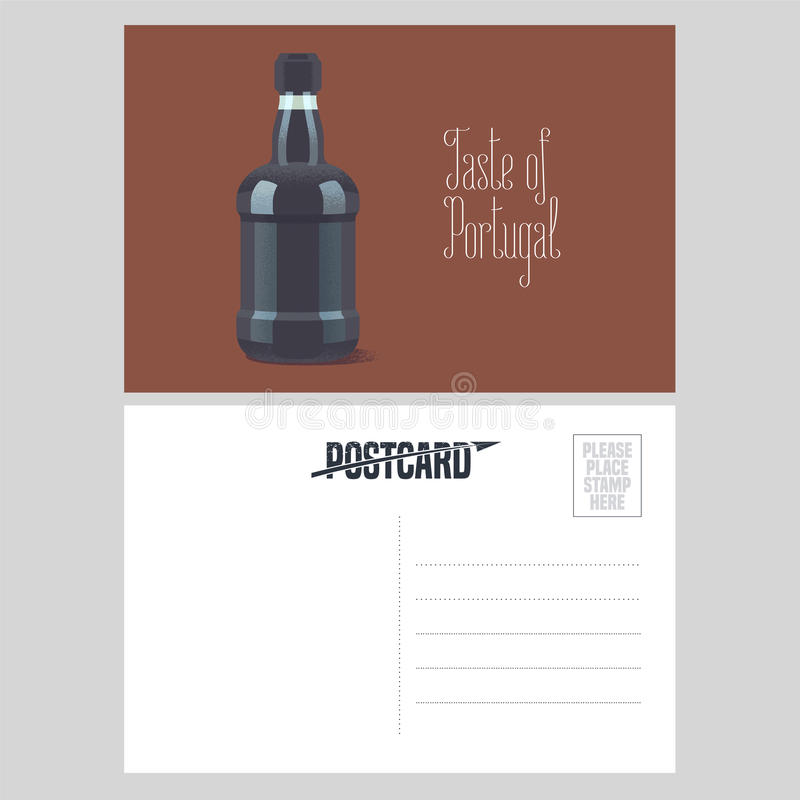 Postcard from Portugal vector illustration with bottle of porto wine. Portuguese traditional dessert wine design element in template double sided card vector illustration