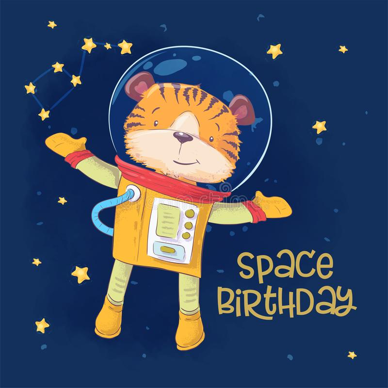Postcard poster of cute astronaut tiger in space with constellations and stars in cartoon style. Hand drawing. royalty free illustration
