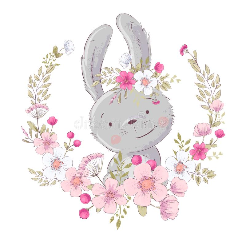 Free Postcard Poster Cute Little Bunny In A Wreath Of Flowers. Hand Drawing. Vector Stock Image - 149415121