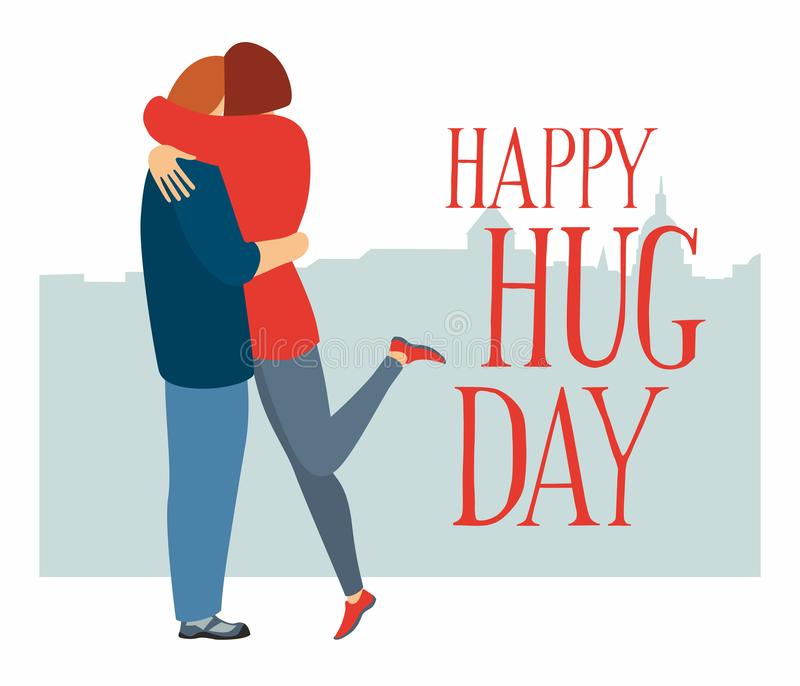 Postcard poster Happy Hug Day. The guy and the girl are hugging vector illustration