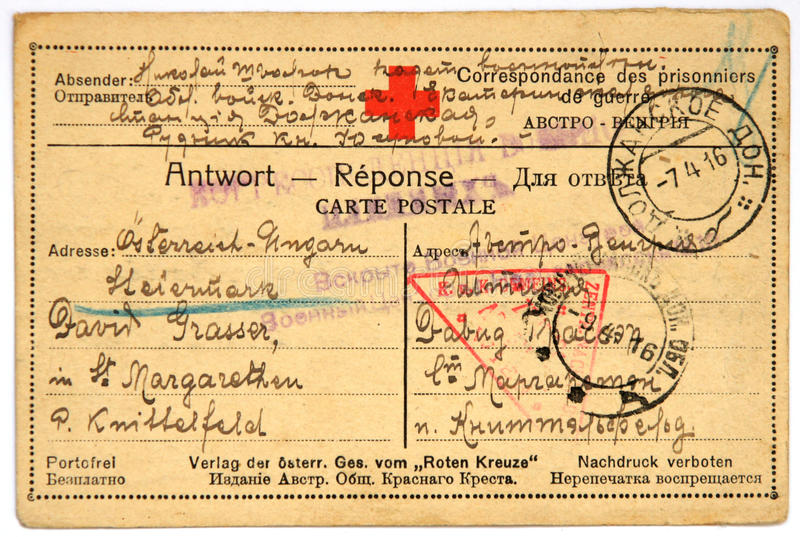 Postcard of prisoner of war. Dolzhansky, Russia - April 4, 1916. Postcard of prisoner of war sent from Russia to Austria with handwritten text in German, World stock images