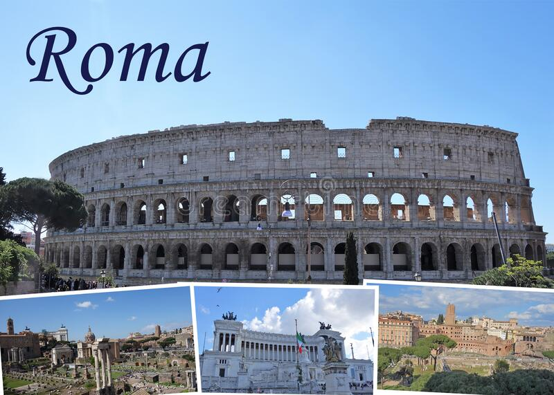 A postcard of Rome stock image