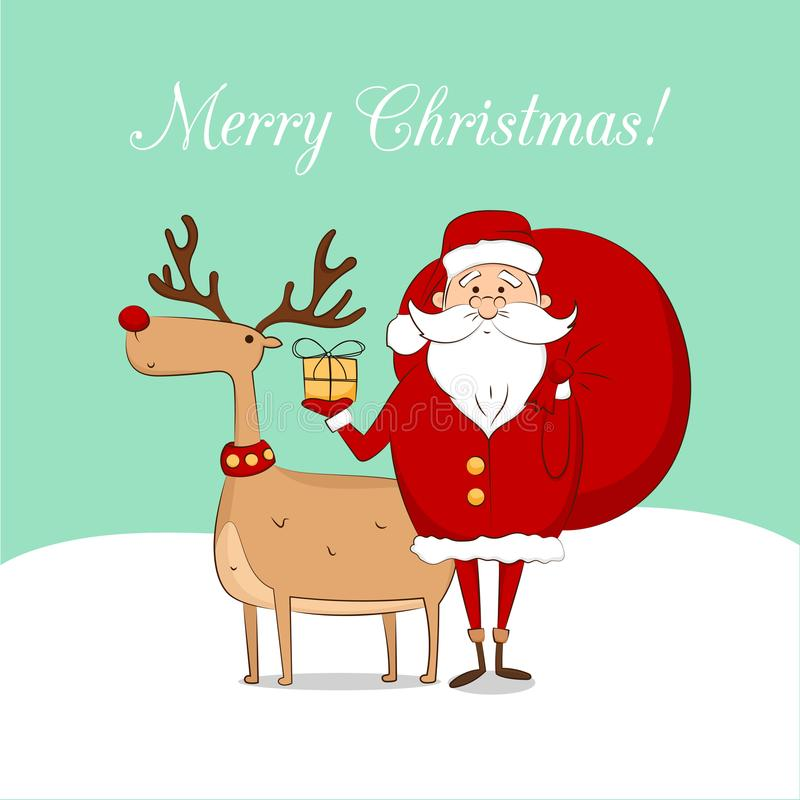 Postcard Santa Claus with a deer vector illustration