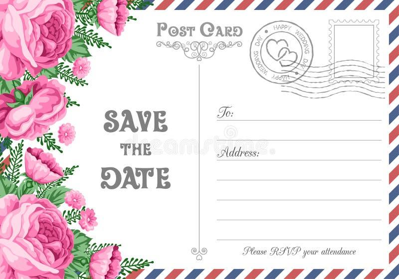 Postcard Save the Date stock illustration