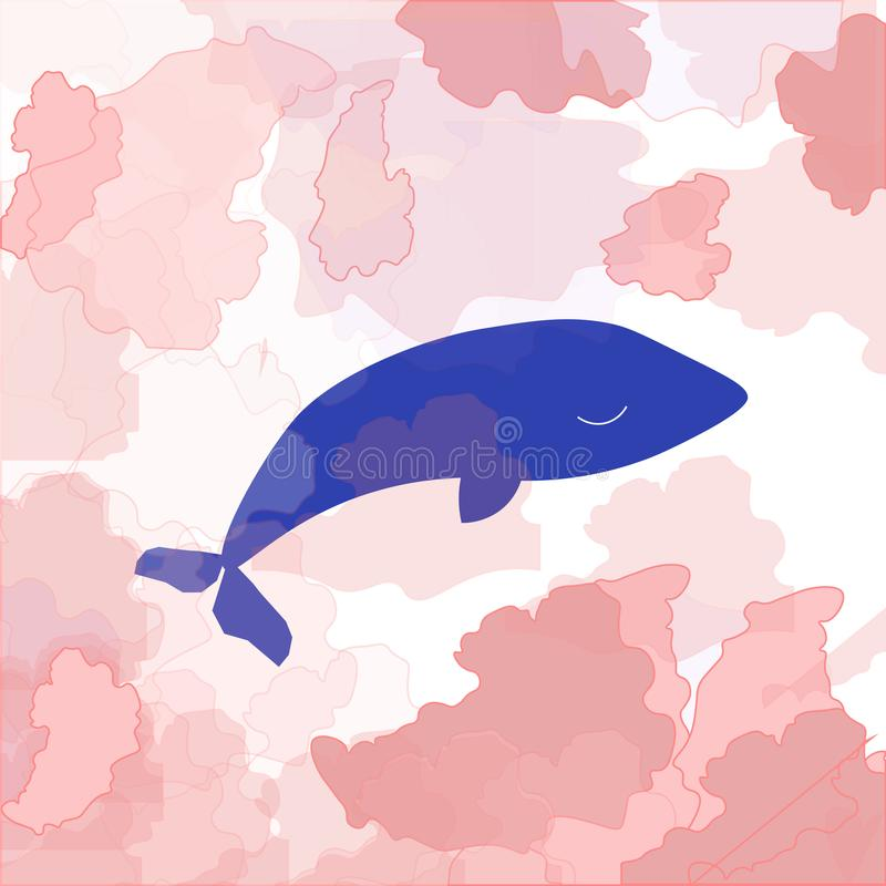 postcard sleeping cute whale in pink cloud stock illustration