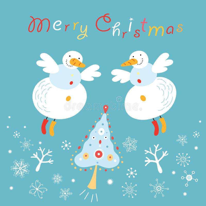 Download Postcard snowmen angels stock vector. Illustration of fairy - 16607734