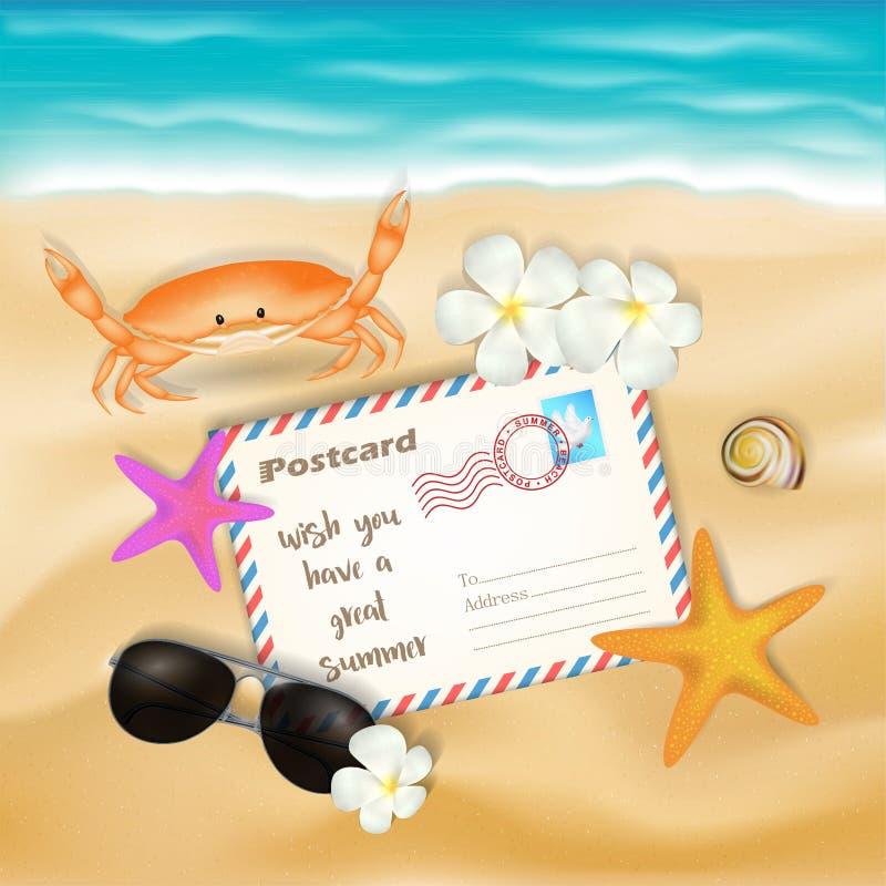 Postcard and sun glasses on sea sand beach stock photo