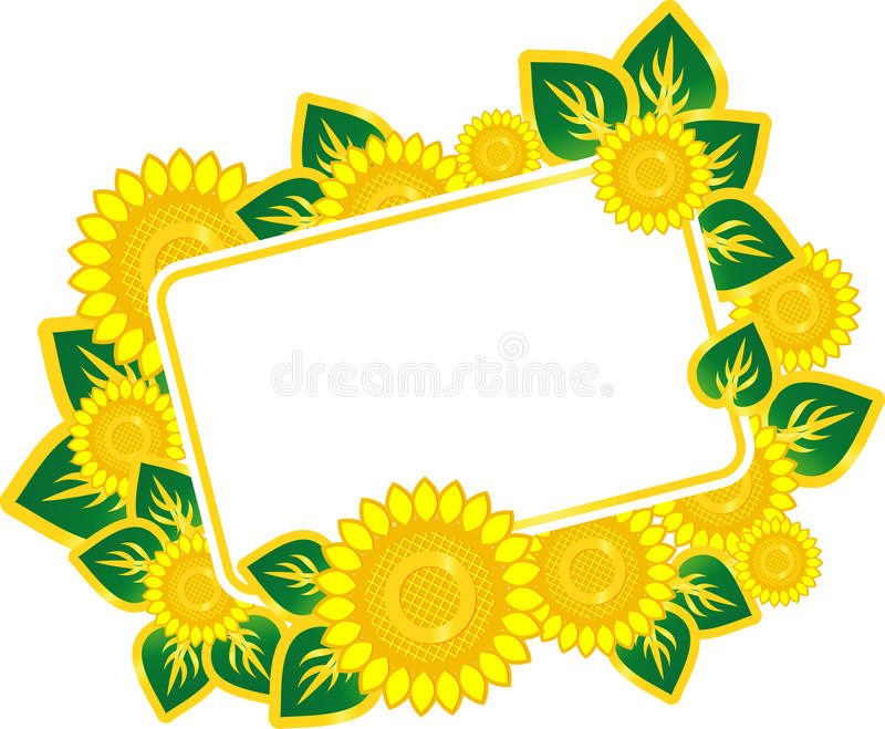 Postcard With Sunflowers Royalty Free Stock Images