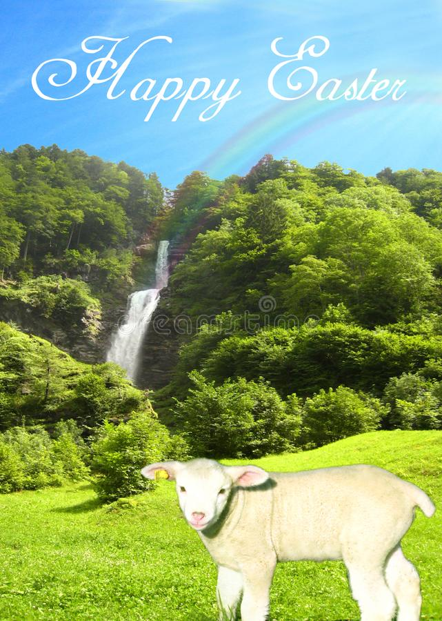 Postcard with a sunny water fall on a bright summer day with a sweet lamb and a beautiful blue sky collage with happy easter text stock illustration