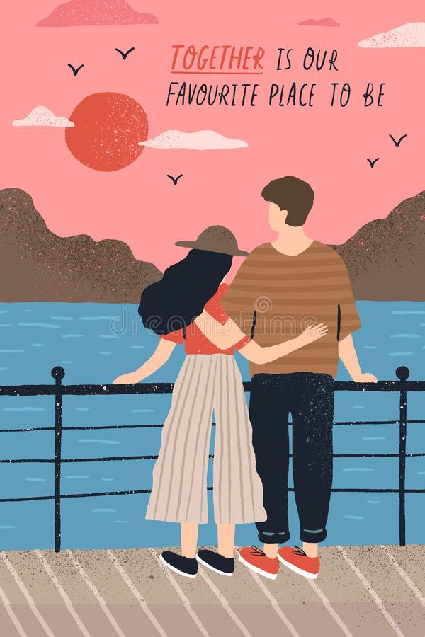 Postcard template with adorable couple in love standing on embankment and watching sunset and romantic quote. Young man royalty free illustration