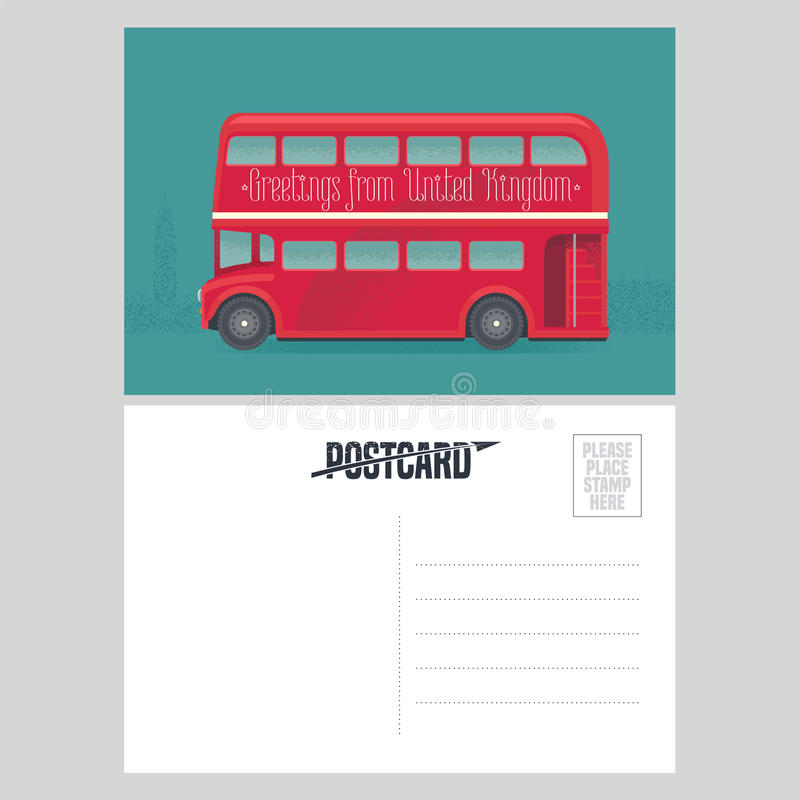Postcard template with greetings from United Kingdom, UK with red double-decker. Symbol of London in vector illustration vector illustration