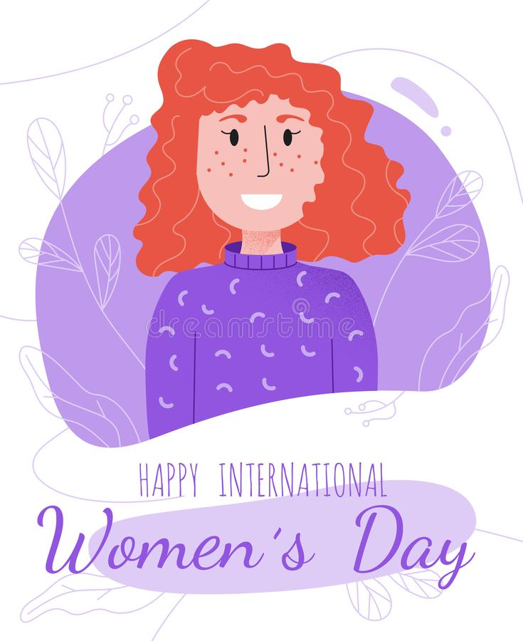 Postcard template with smiling European red-haired girl in sweater. International Womens Day March 8 postcard template with smiling European red-haired girl in royalty free illustration