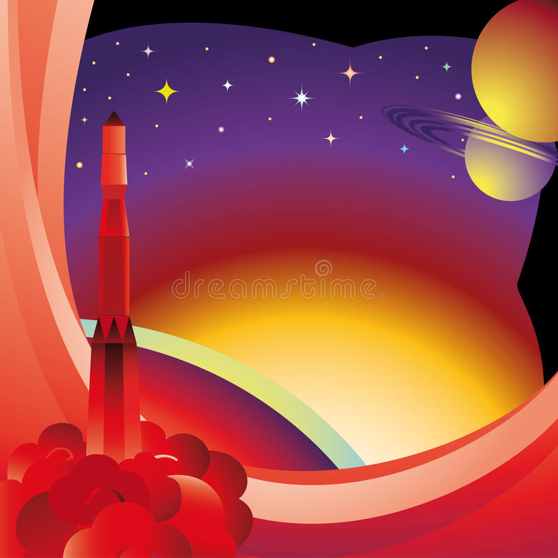 Postcard to the Day of Cosmonauts. The spaceship flies over the Earth into space royalty free illustration