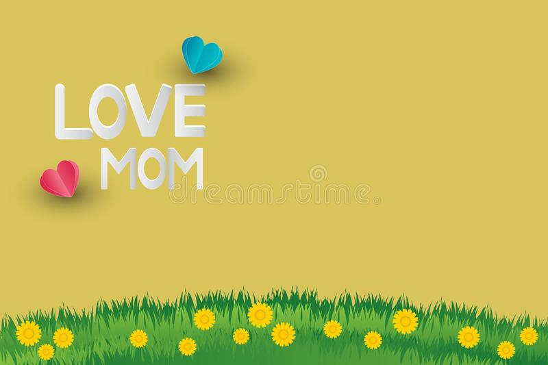 Postcard to mother`s day,Have a message beautiful. Love you mom on background stock illustration