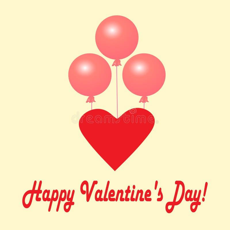 Postcard_Valentine 's_Day Roze ballen en hart vector illustratie