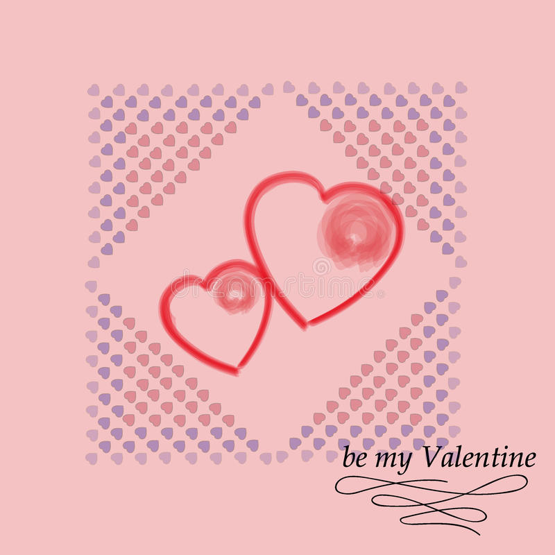 Postcard for Valentine`s day. Be my Valentine. Vector decorative texture. stock photography