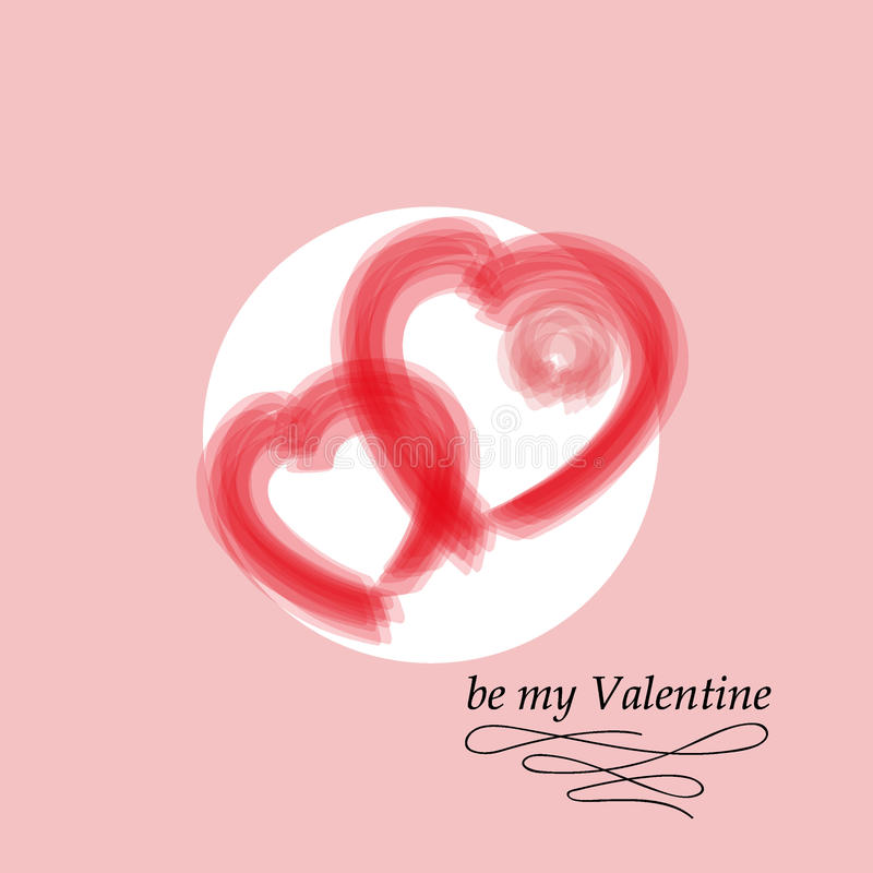Postcard for Valentine`s day. Be my Valentine. Vector decorative texture. royalty free stock image