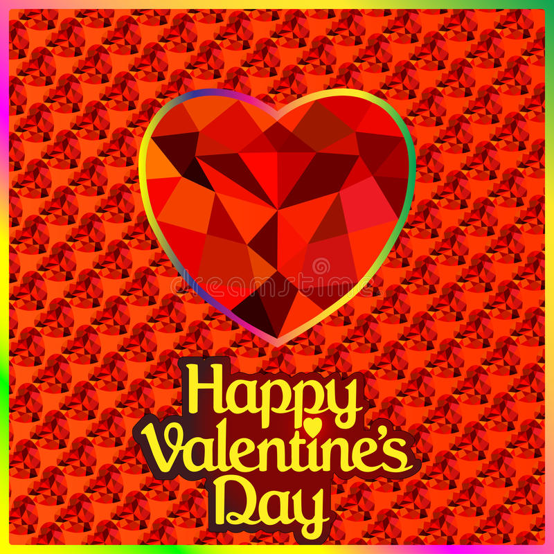 Postcard on Valentines day with the heart of a pre. Illustration of a postcard on Valentines day with the heart of a precious stone vector illustration