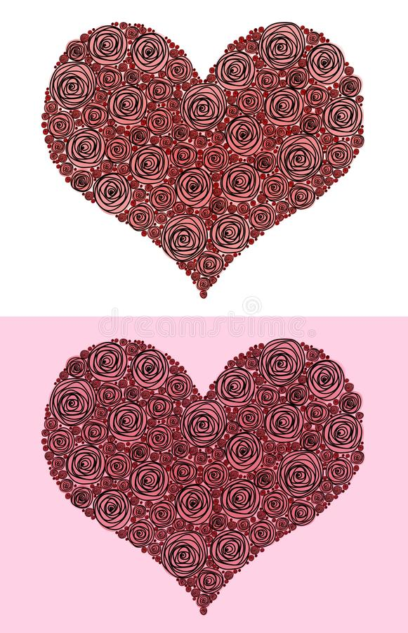 Postcard for Valentine`s day heart of red roses. From large to small, two versions stock images