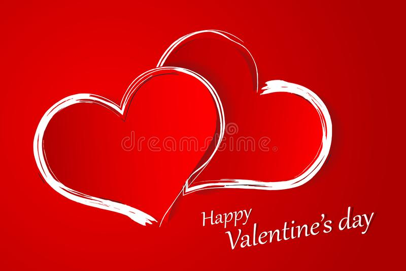Postcard for Valentine`s Day Horizontal Orientation. Symbol of Love. Happy Valentine`s Day vector illustration
