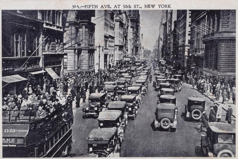 Postcard vintage. Black white postcard of 5th Street in New York from 1938, which was sent to Germany with a postmark date of. April 14, 1938. Macro. See the royalty free stock photos
