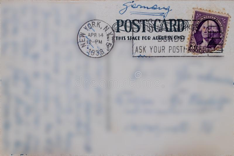 Postcard vintage. Reverse of postcard of 5th Street in New York, postmarked of April 14, 1938 with a U.s. postage stamp 3 cents royalty free stock image