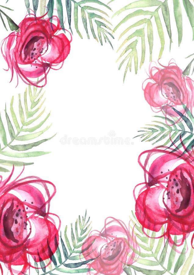 Watercolor flowers rose. rose, leaf fern. Floral poster stock illustration