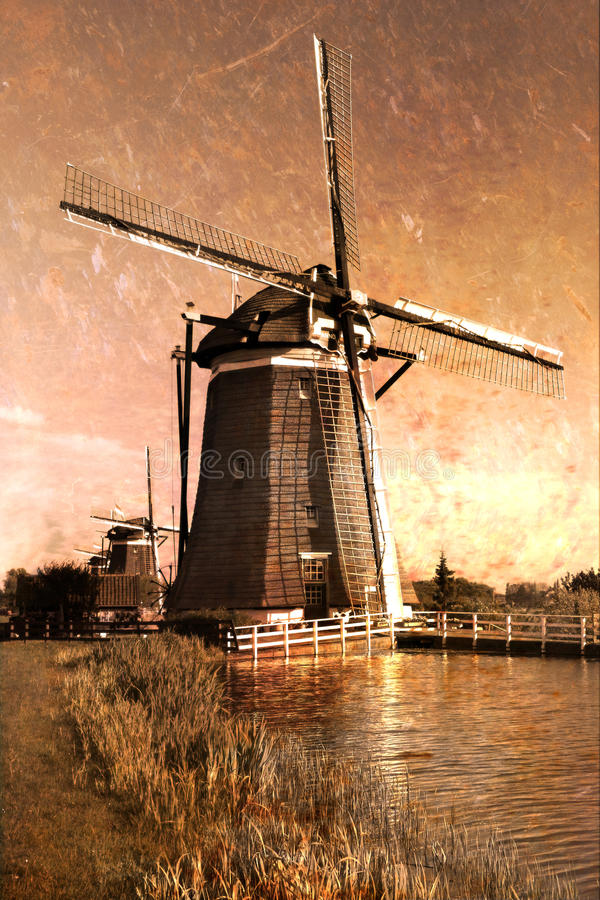 Download Postcard Of Windmills On Dutch Countryside Stock Photo - Image: 14859634