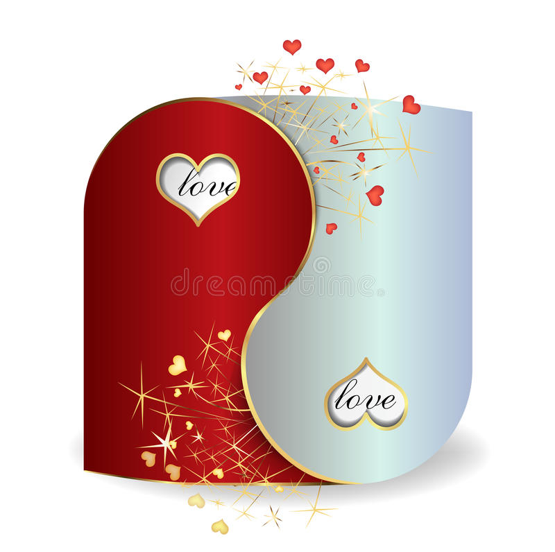 Postcard Yin and Yang Valentine`s Day stock illustration