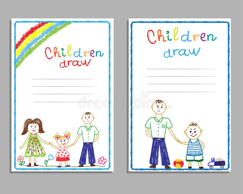 Postcards with children`s drawings family, mom, dad, children, with the sun and rainbow. vector illustration