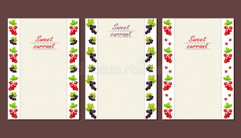 Cards or leaflets with a vertical pattern of currant berries vector illustration