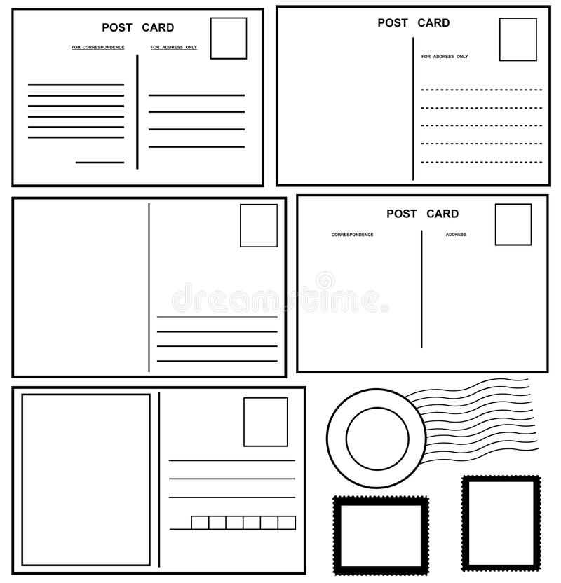 Download Postcards Set stock vector. Image of blank, empty, postmark - 29226512