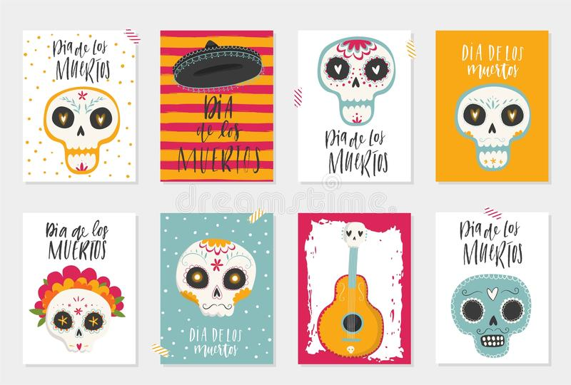 The postcards with traditional sugar skulls. Vector hand drawn illustration of Mexican holiday `Day of the Dead`. The postcards with traditional sugar skulls royalty free illustration