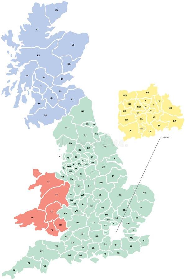 Free Postcode Map Of UK Royalty Free Stock Image - 25081056