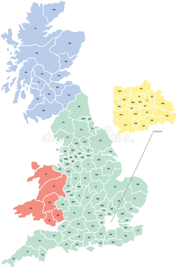 Postcode Map of UK royalty free illustration