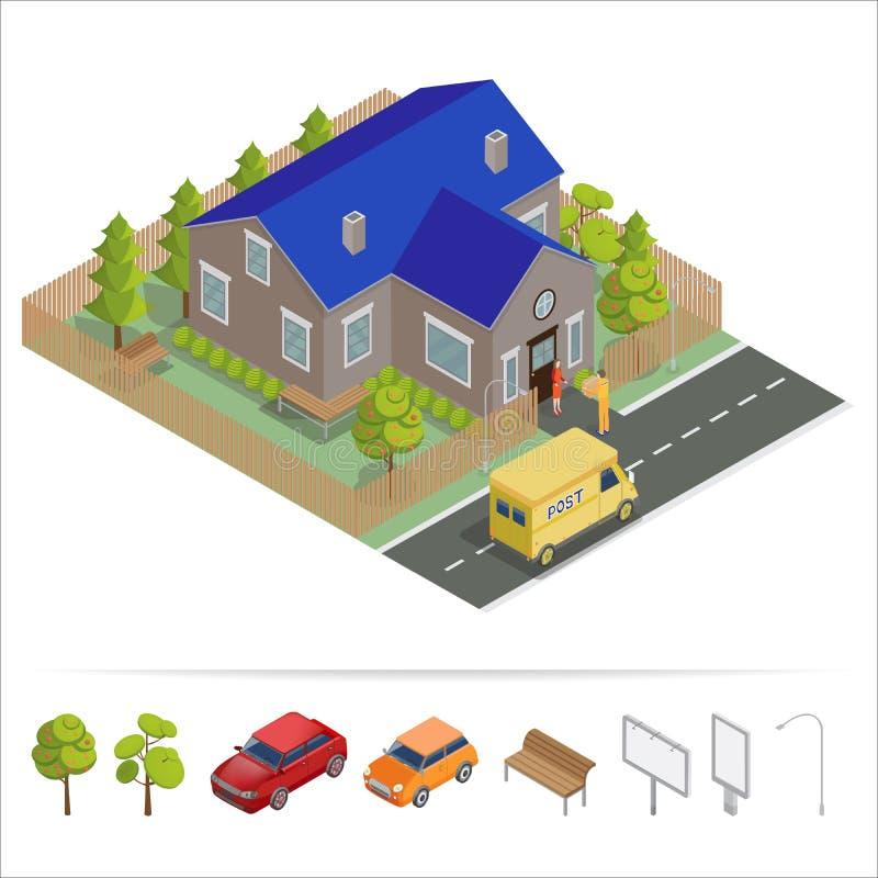 Postdienst Isometrisches Haus Lieferwagen Lieferer lizenzfreie abbildung