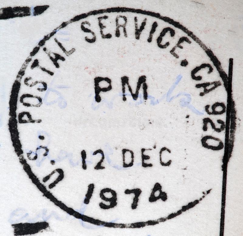 Postdienst 1974 Vereinigter Staaten, Poststempel Kaliforniens 920 stockfotografie