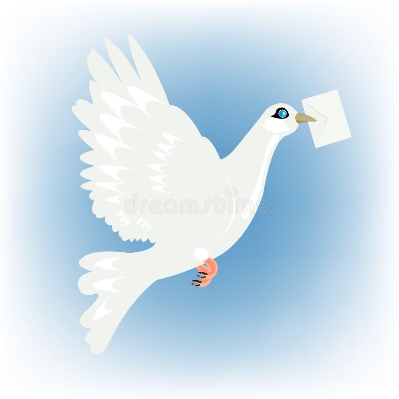 Postduif met brief in bek royalty-vrije illustratie
