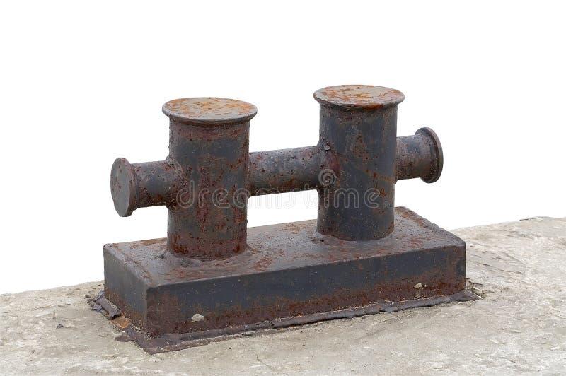 Poste de amarração da amarração no cais concreto. fotos de stock