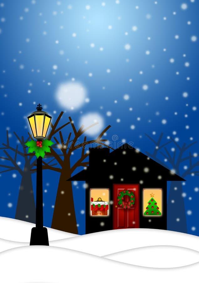 Poste de la casa y de la lámpara en escena de la Navidad del invierno ilustración del vector