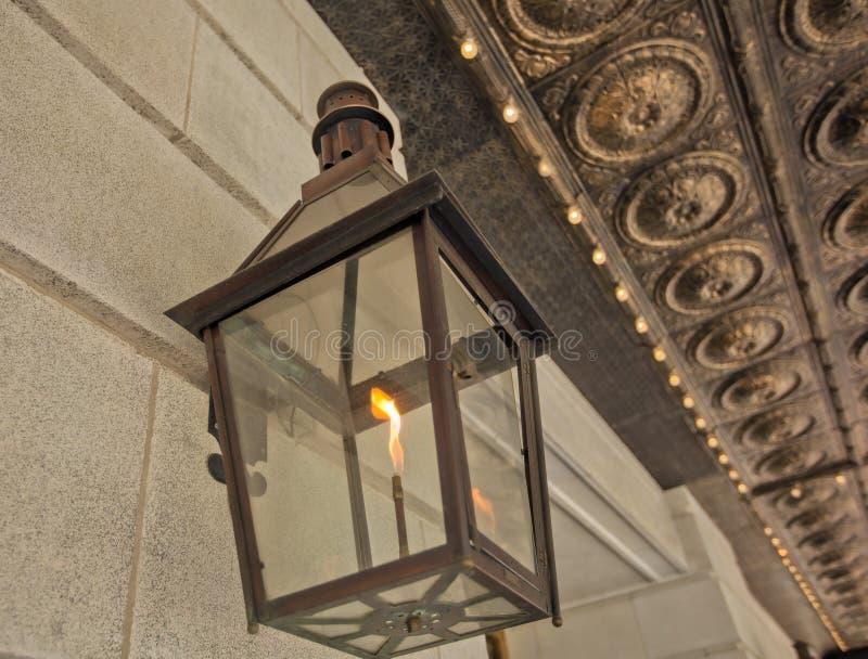 Poste de luz do gás em Crescent City foto de stock
