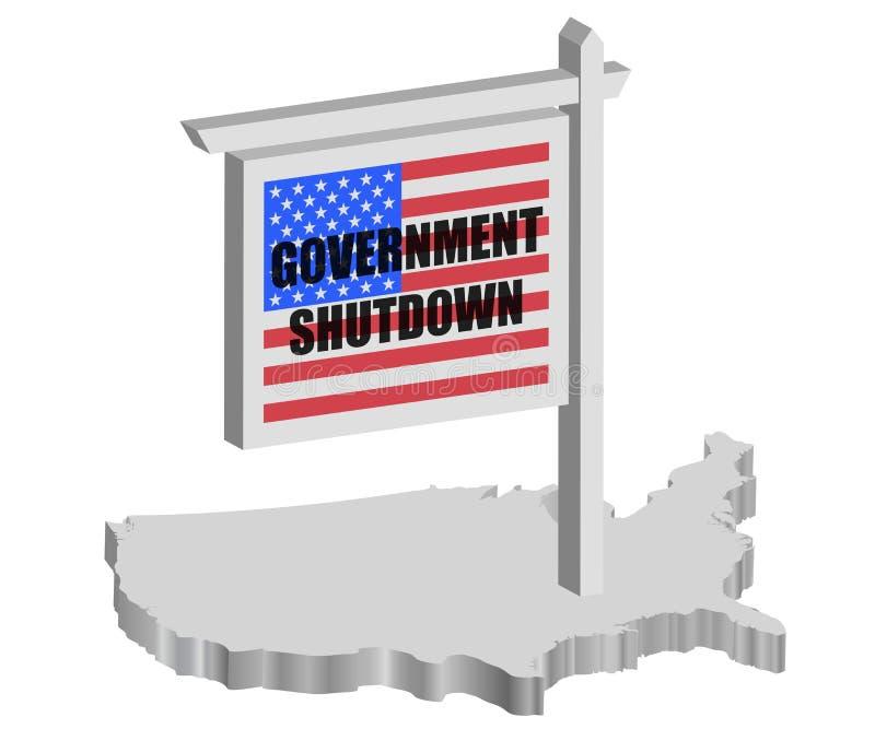 Poste de muestra del cierre del gobierno de los E.E.U.U. ilustración del vector