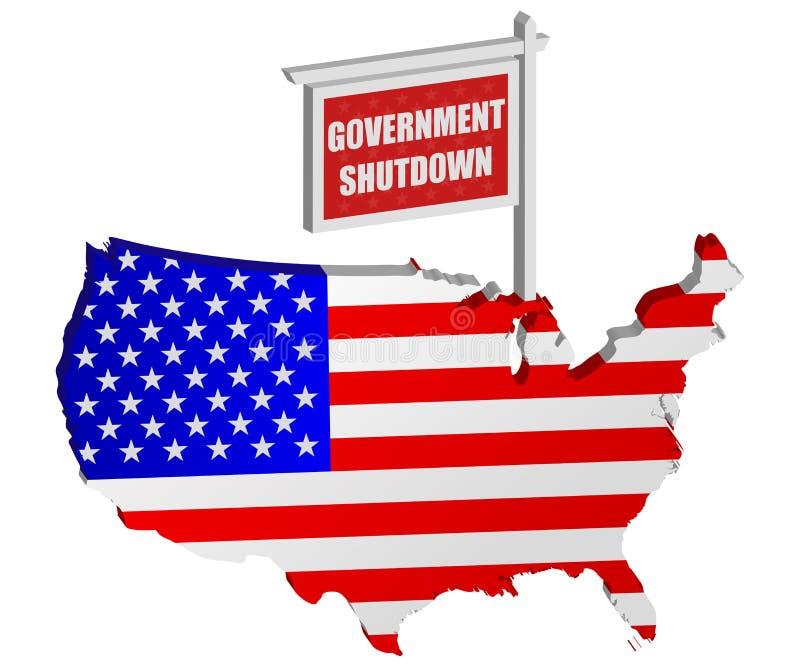 Poste de muestra del cierre del gobierno de los E.E.U.U. stock de ilustración