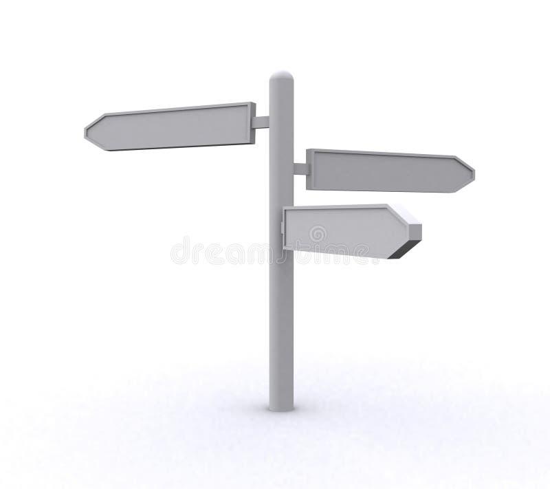 Poste de muestra direccional en blanco stock de ilustración