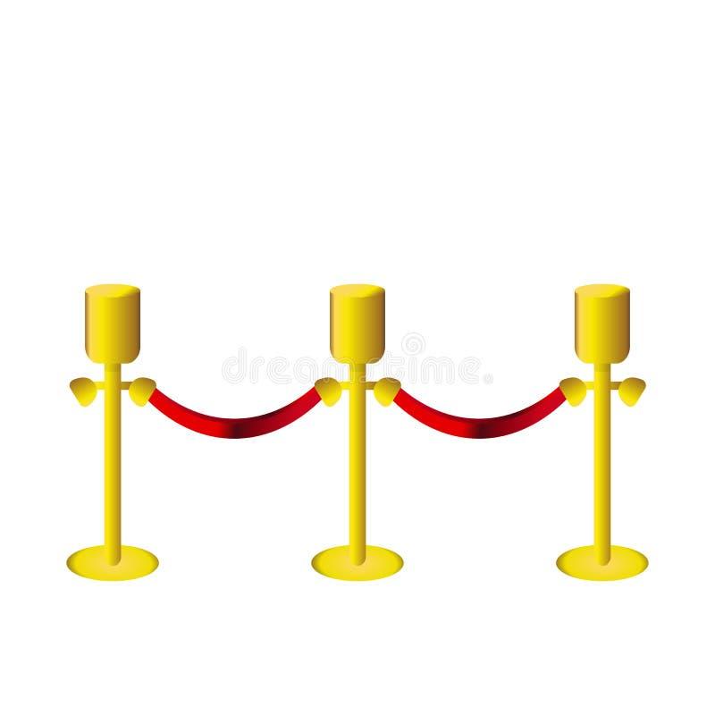 Poste de oro de la cerca con la cuerda roja en el backgroung blanco ilustración del vector